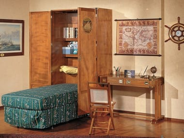 Wooden single bed with cabinet 190 | Pull-down bed