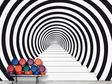 Optical non-woven paper wallpaper DOWN THE RABBIT HOLE