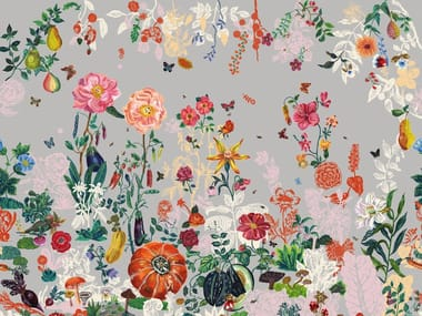 Wallpaper with floral pattern JARDIN GRIS