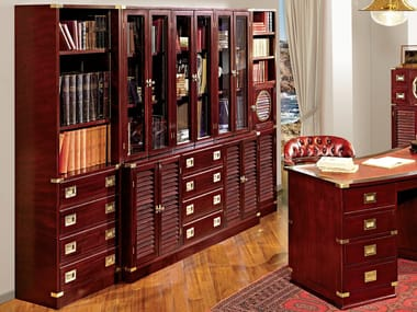 Wall-mounted freestanding bookcase with drawers JOLLY | Sectional bookcase
