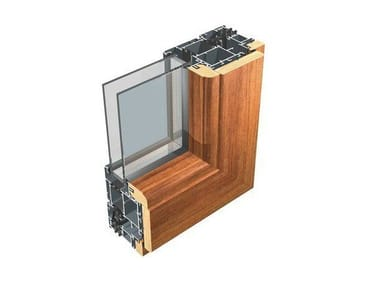 Aluminium and wood thermal break window 80 IWood