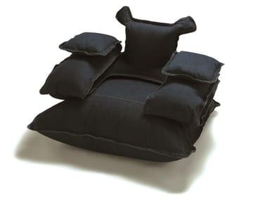 Upholstered denim fabric armchair MUFF DADDY | Denim fabric armchair