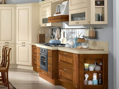 Walnut kitchen with handles LAURA | Walnut kitchen