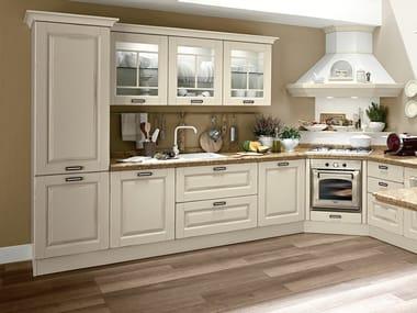 Wooden kitchen with handles LAURA | Wooden kitchen