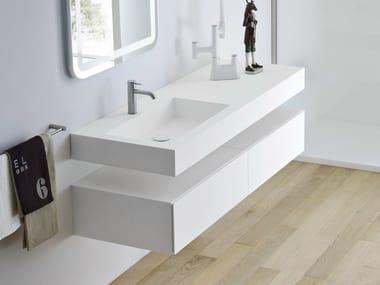 Rectangular wall-mounted Corian® washbasin with integrated countertop UNICO | Washbasin with integrated countertop