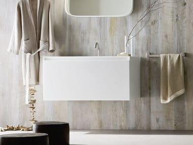 Mobile lavabo singolo sospeso in Corian® ERGO-NOMIC | Mobile lavabo singolo