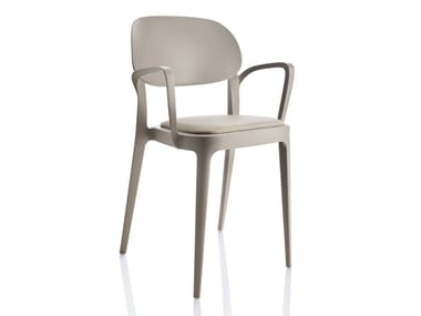 Stackable technopolymer chair AMY | Chair with armrests