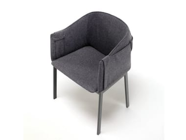 Upholstered fabric chair with armrests POLO GRACE
