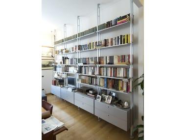 Double-sided sectional aluminium shelving unit K2 | Bookcase