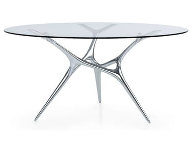 Round Glass and Stainless Steel table E-VOLVED