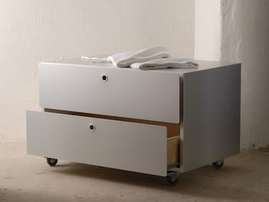 Modular aluminium and wood chest of drawers CONTAINERS