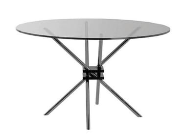 Round glass and steel table MZ59 | Table