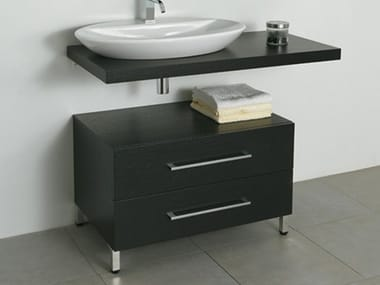 Low wooden bathroom cabinet with drawers 2CSS-B/P