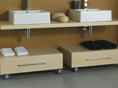 Low wooden bathroom cabinet with castors CSS-B/R