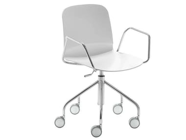 Chair on trestle base with armrests with casters LIÙ DP | Chair with castors