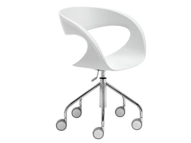 Trestle-based chair with castors RAFF | Chair with castors