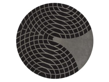 Round wool rug with geometric shapes GRANDE