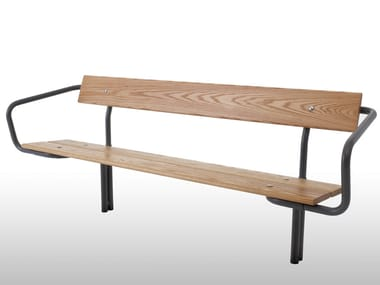 Steel and wood Bench with back BUDGET | Bench