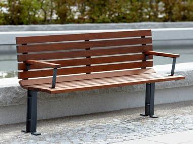 Wooden Bench with armrests KAJEN | Bench with armrests