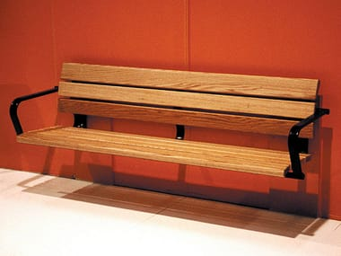 Wall-Mounted wooden Bench with armrests KALMARSUND | Wall-Mounted Bench