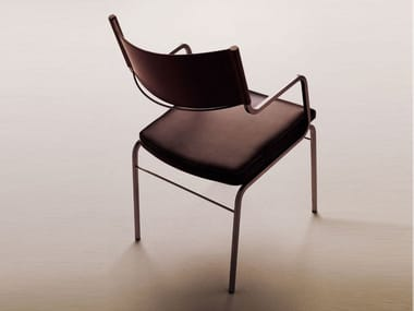 Tanned leather chair with armrests CHAZUKA | Chair with armrests