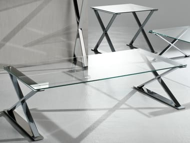 Rectangular crystal and steel coffee table ICS | Rectangular coffee table