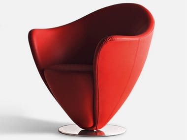 Swivel upholstered leather armchair MON PETIT COEUR