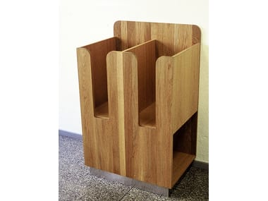 Floor-standing oak display unit for brochures TÄBY | Display unit for brochures