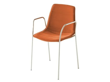 Leather chair with armrests ALHAMBRA TBI