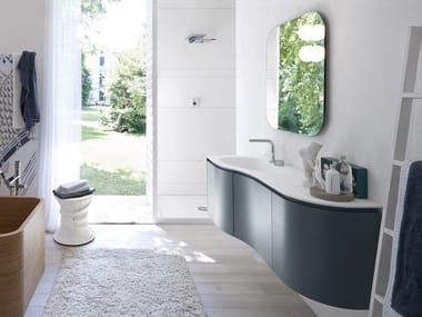 Lacquered vanity unit with mirror COMP MSP10