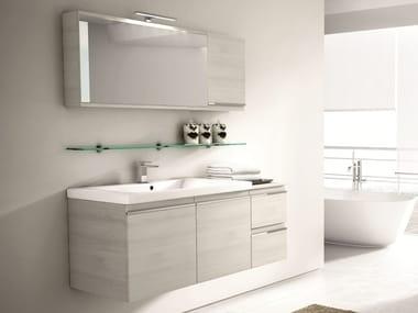 Mobile lavabo sospeso con cassetti con specchio MISTRAL COMP 08