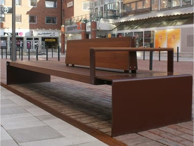 Steel Bench with armrests with back CITY WALK