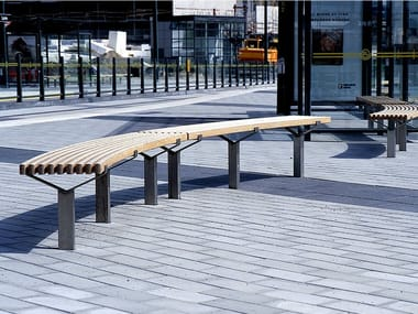 Curved steel and wood Bench LUMA | Curved Bench