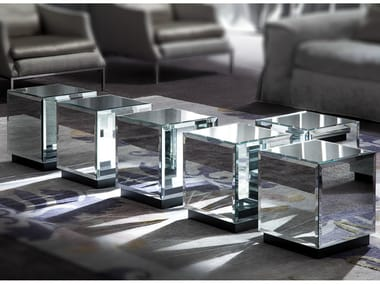 Low square mirrored glass coffee table RIFLESSO