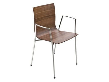 Stackable chair with armrests THIN | Chair with armrests