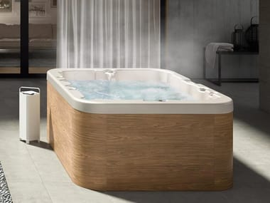 Rectangular hydromassage hot tub 3-seats PROGRESS