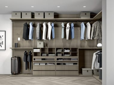 Sectional melamine-faced chipboard walk-in wardrobe PROJECT UP 02