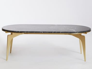 Oval marble coffee table for living room PRONG RACETRACK | Coffee table for living room