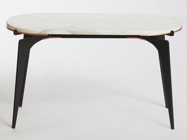 Oval marble high side table PRONG RACETRACK | Coffee table