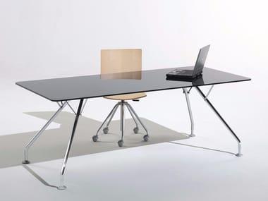 Rectangular glass workstation desk PROSPERO | Glass office desk