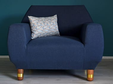 Upholstered fabric armchair with armrests PROTOTHEA   Armchair