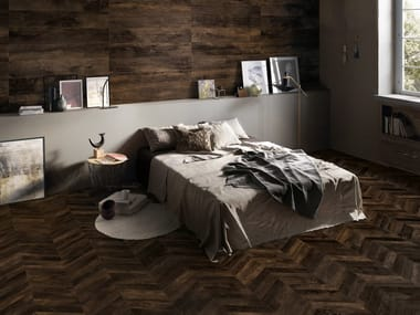 Porcelain stoneware wall/floor tiles with wood effect PROVOAK NERO BRUCIATO