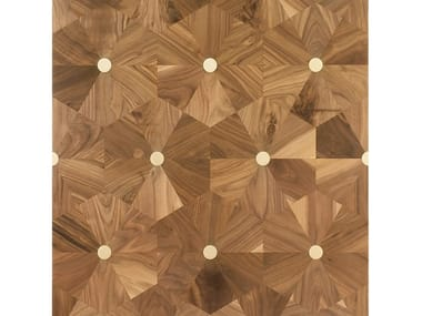 Walnut and brass wall/floor tiles PUNTI