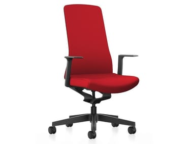 Fabric task chair with 5-Spoke base with armrests PURE IS3 PU113