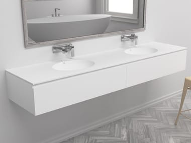 Wall-mounted vanity unit with drawers RED | Double vanity unit
