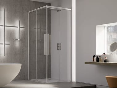 Corner shower cabin with sliding door PURO A+A