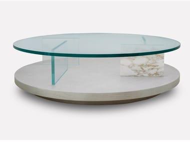 Mesa de centro baixa de café redonda de madeira e vidro PURO | Mesa de centro redonda