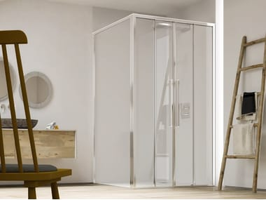 Corner shower cabin with sliding door PURO SC2+F4