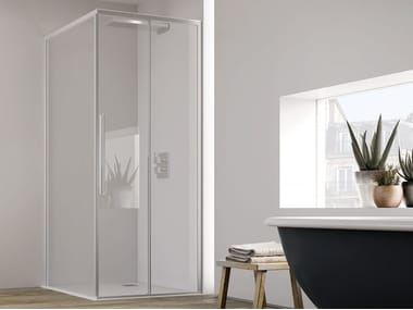 Corner shower cabin with sliding door PURO SF + F1