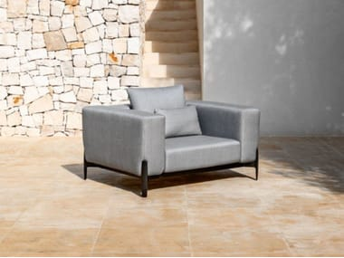 Fabric garden armchair with armrests PUSH | Garden armchair